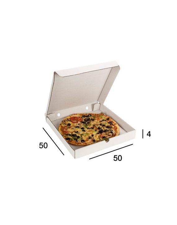 Caja Pizza Blanca 50x50x4 cm